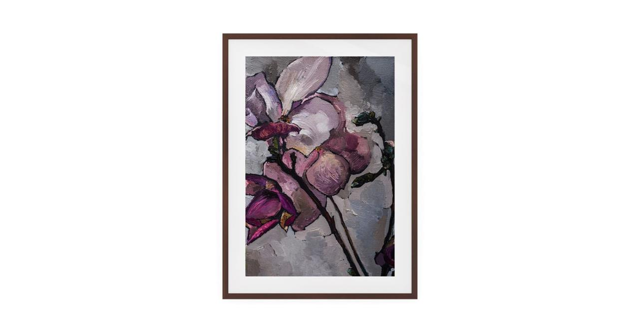 The Magnolia Print Dark Brown Wood Frame Medium