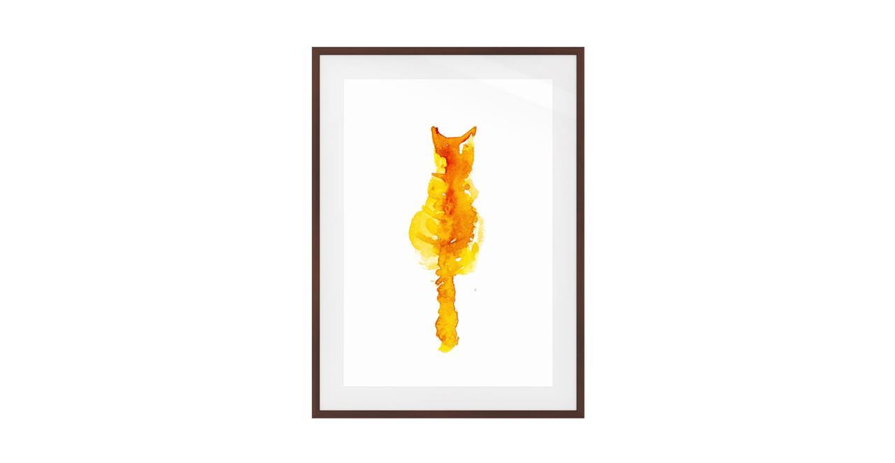 The Mango Cat Print Dark Brown Wood Frame Small