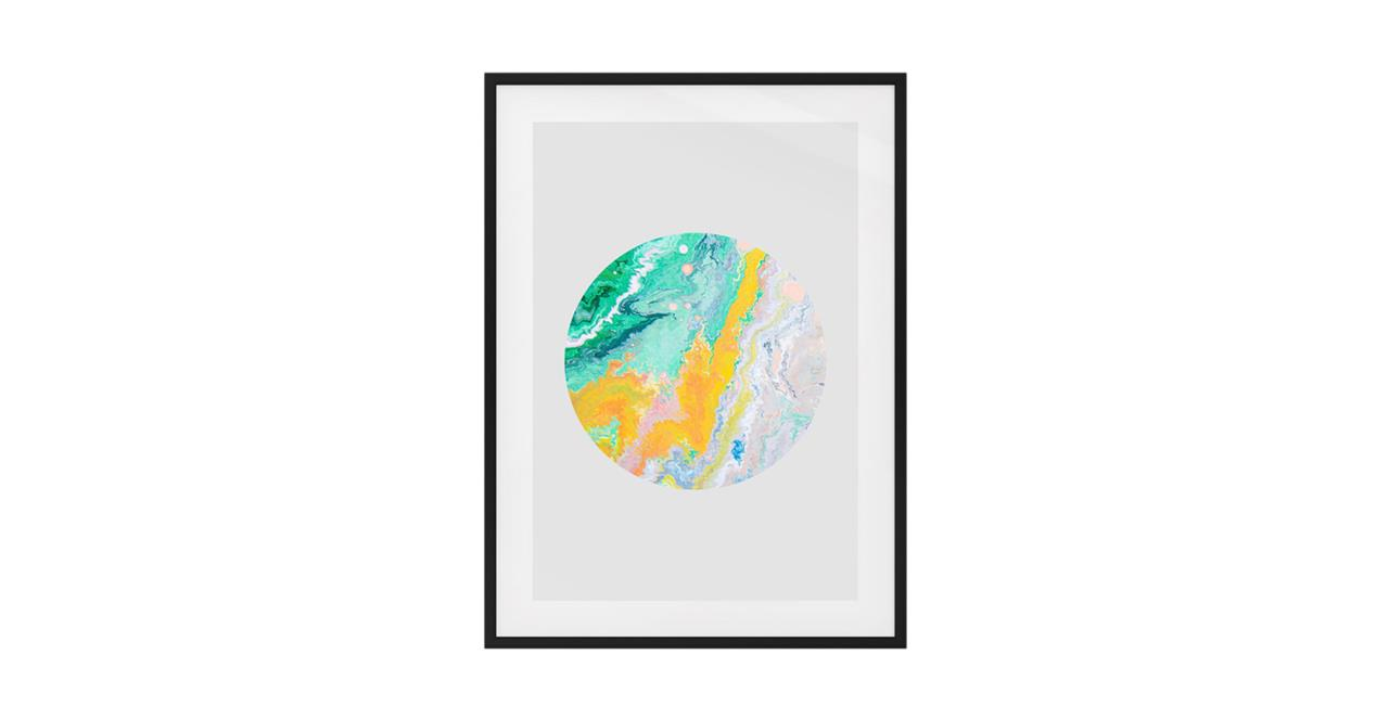 The Marble Print Black Wood Frame Medium Yellow