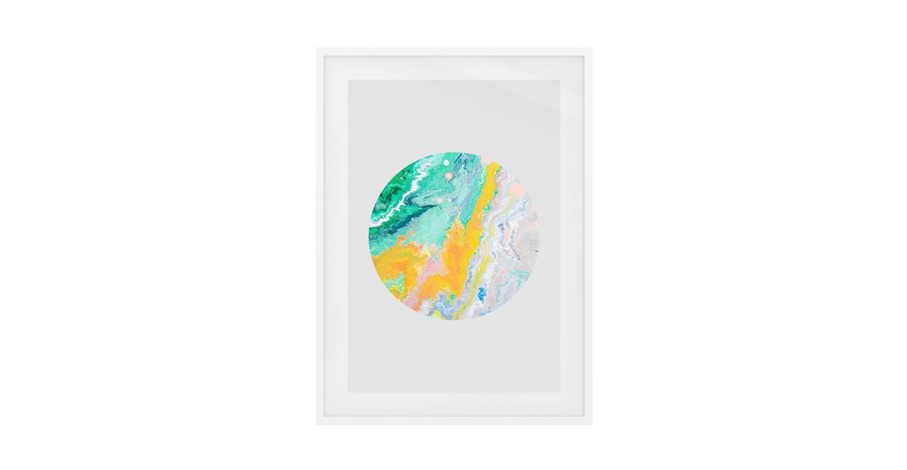The Marble Print White Wood Frame Medium Yellow