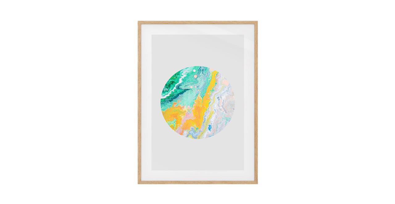 The Marble Print Natural Wood Frame Medium Yellow