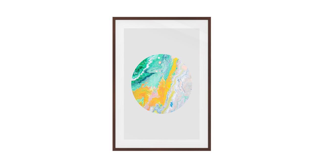 The Marble Print Dark Brown Wood Frame Medium Yellow