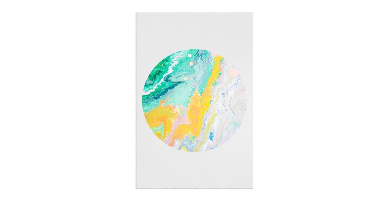 The Marble Print Canvas Medium Yellow
