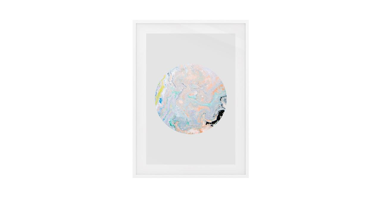 The Marble Print White Wood Frame Small Lavender