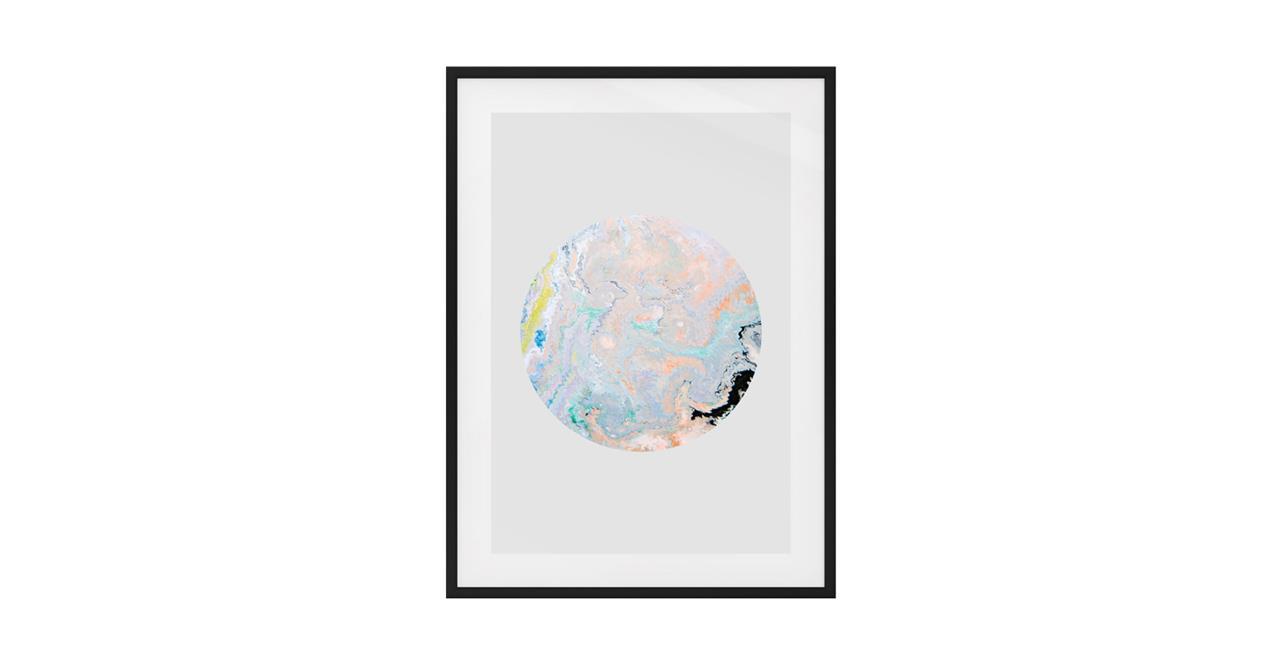 The Marble Print Black Wood Frame Medium Lavender
