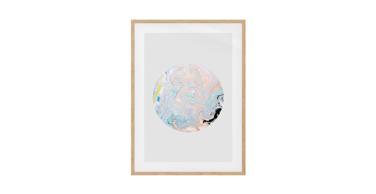 The Marble Print Natural Wood Frame Medium Lavender