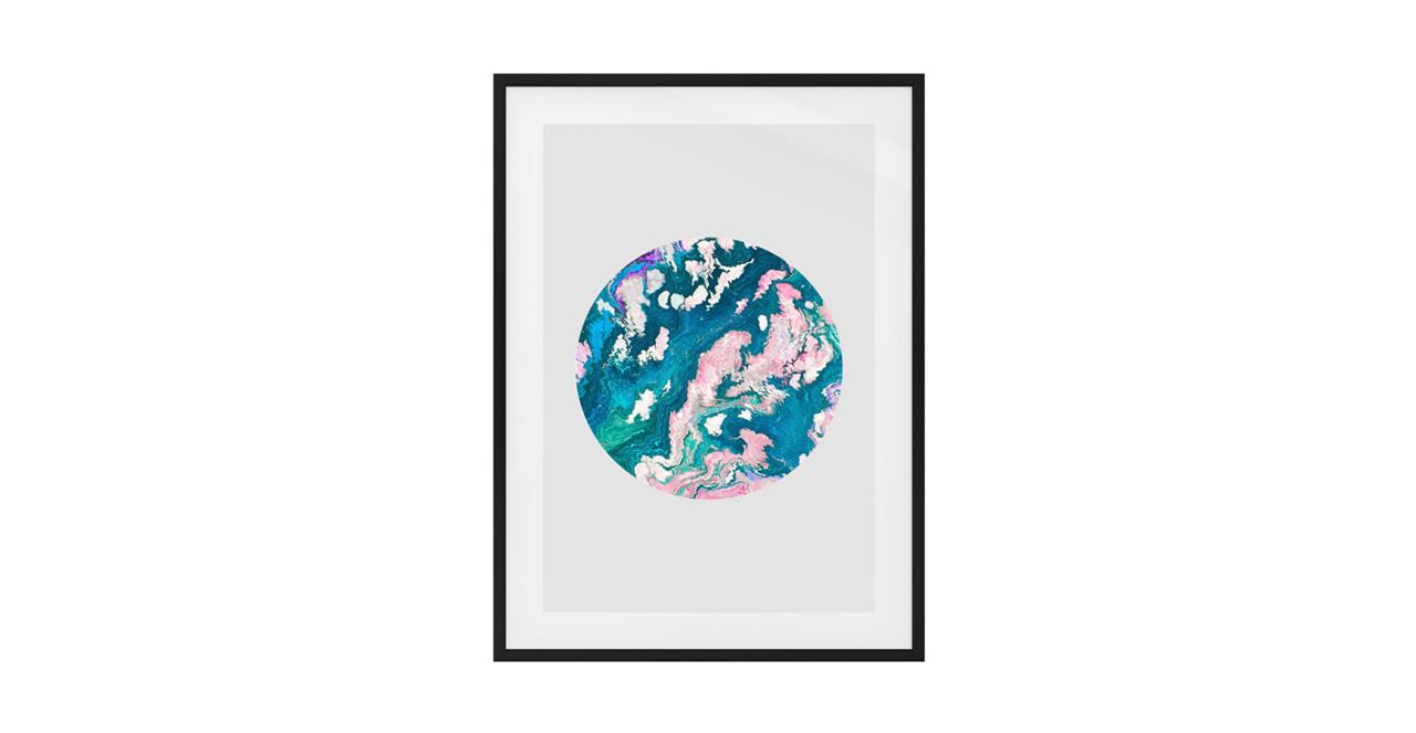 The Marble Print Black Wood Frame Small Navy