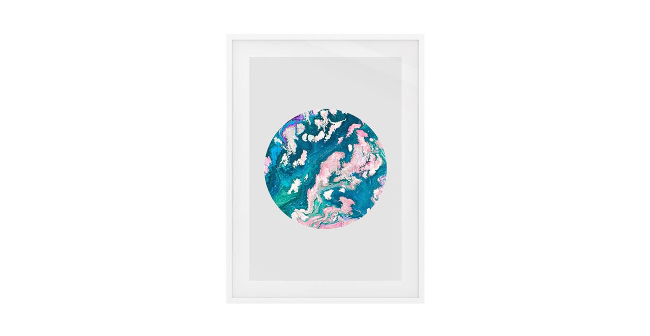 The Marble Print White Wood Frame Small Navy