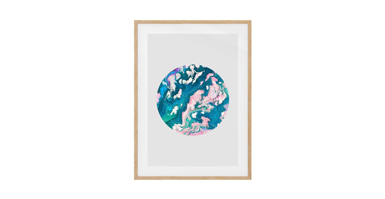 The Marble Print Natural Wood Frame Small Navy