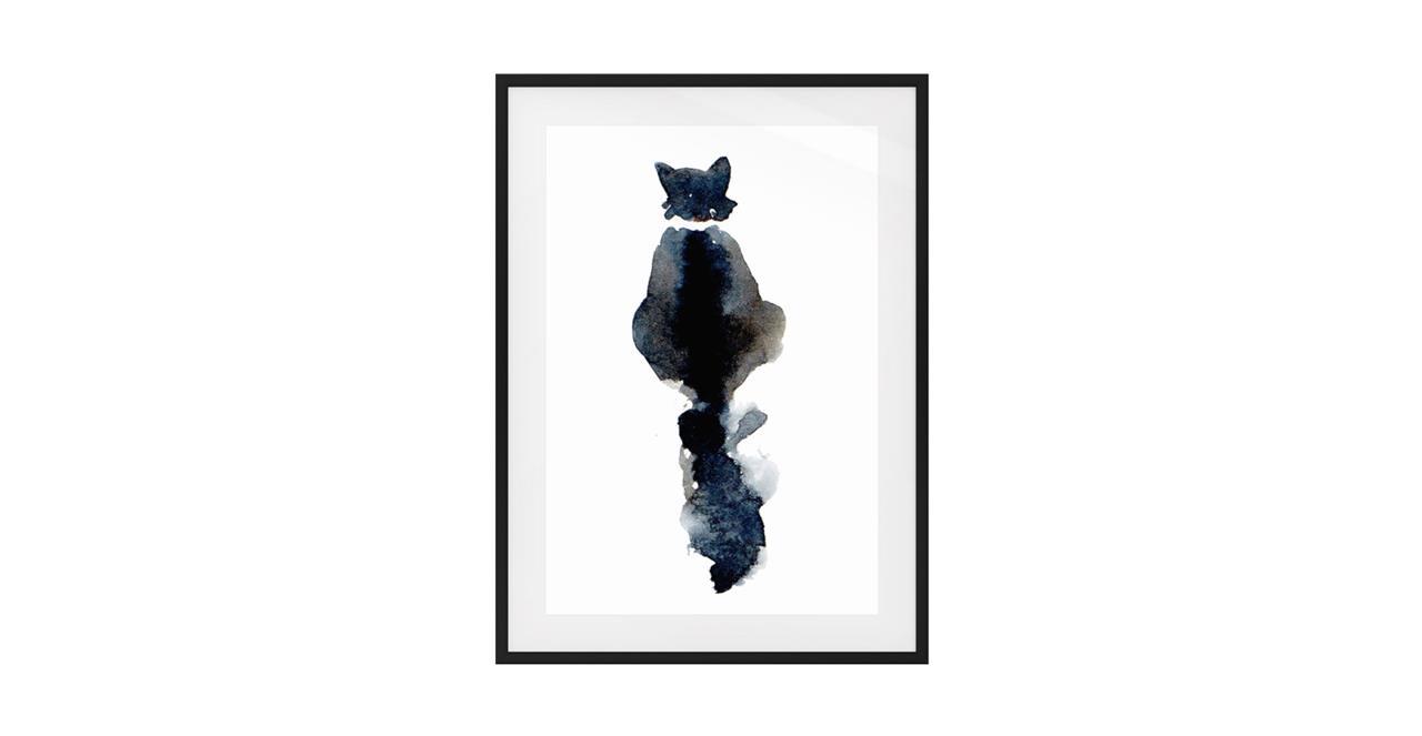 The Midnight Cat Print Black Wood Frame Small