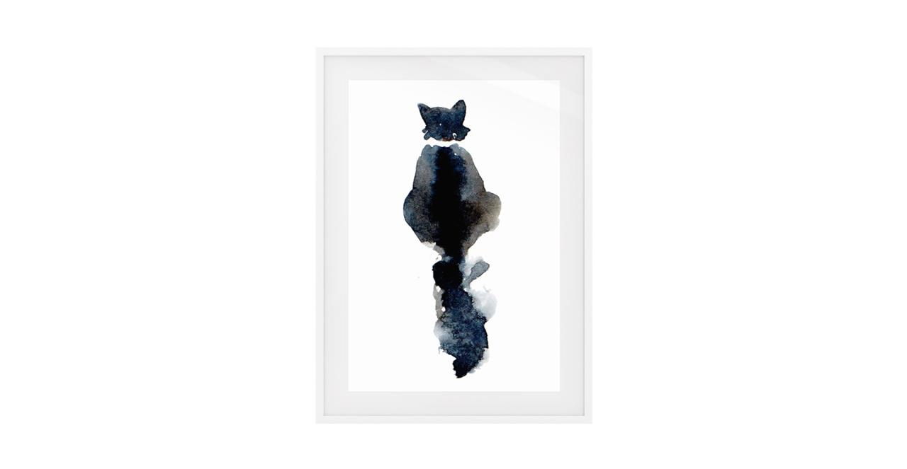 The Midnight Cat Print White Wood Frame Small