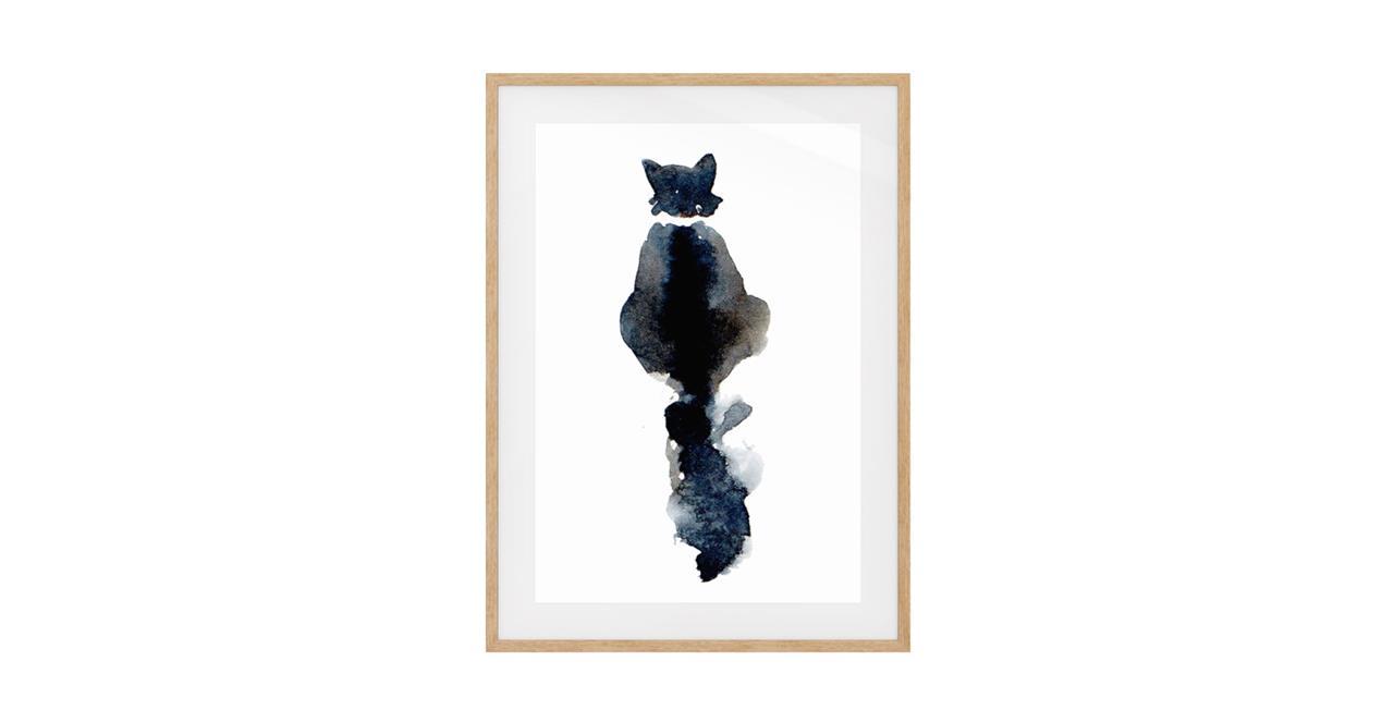 The Midnight Cat Print Natural Wood Frame Medium
