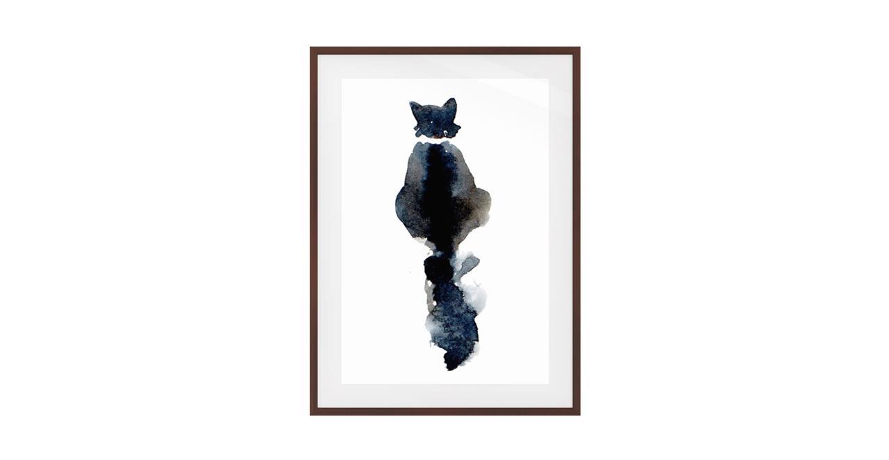 The Midnight Cat Print Dark Brown Wood Frame Medium