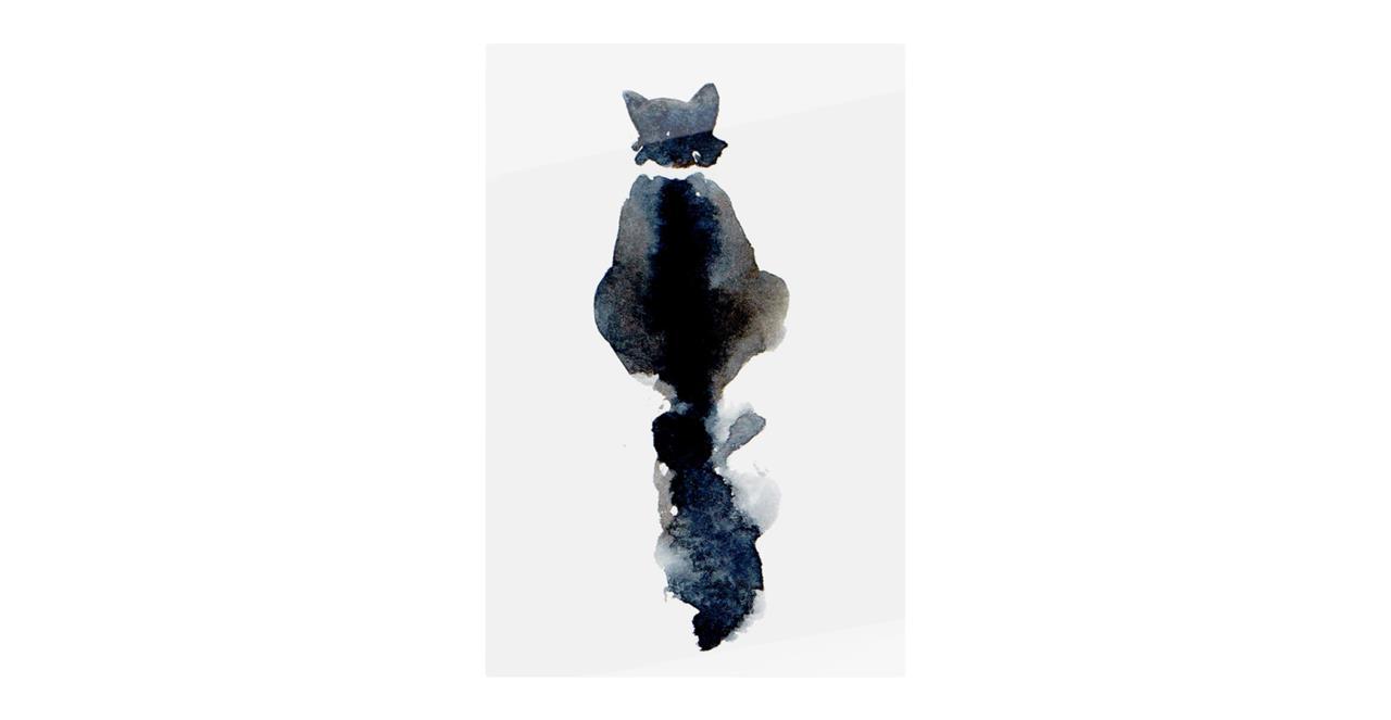 The Midnight Cat Print Metal Print Medium