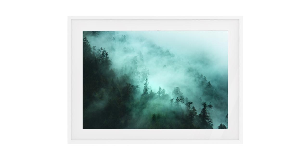 The Mist Print White Wood Frame Small