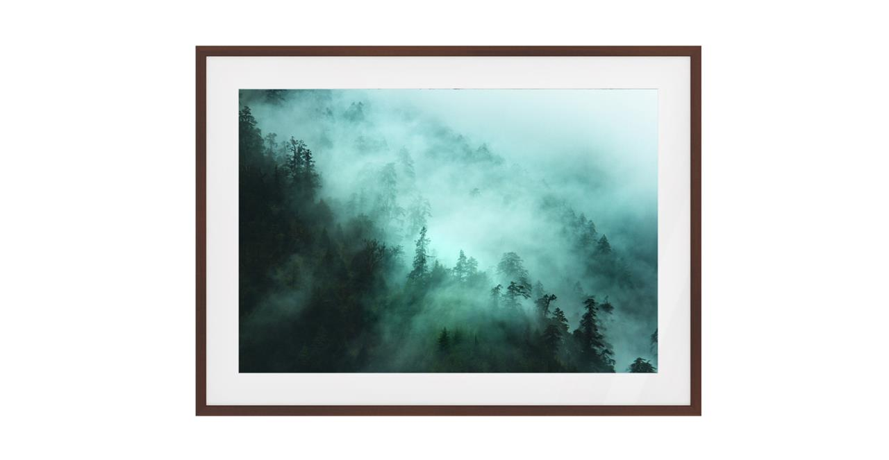 The Mist Print Dark Brown Wood Frame Small