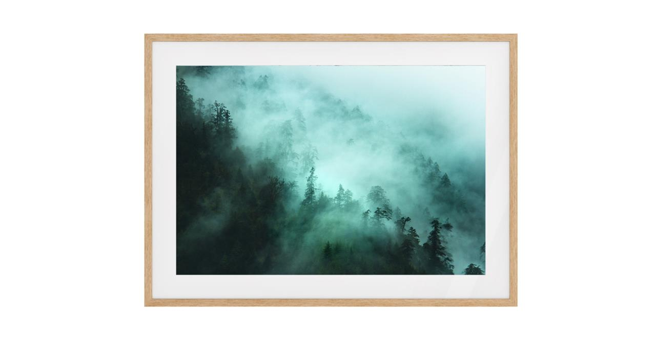 The Mist Print Natural Wood Frame Medium