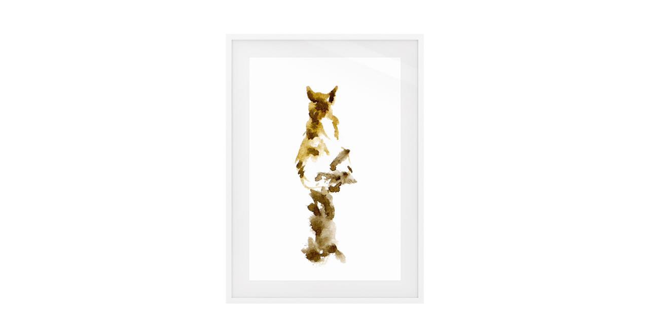 The Mocha Cat Print White Wood Frame Small