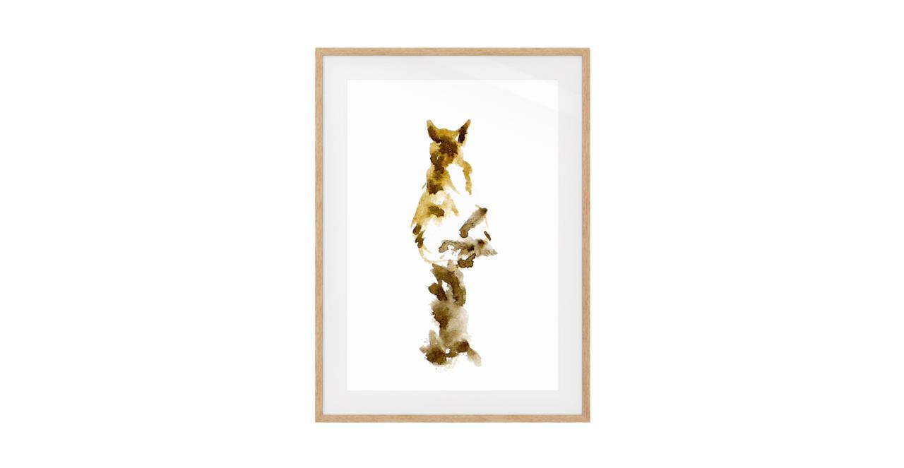 The Mocha Cat Print Natural Wood Frame Small
