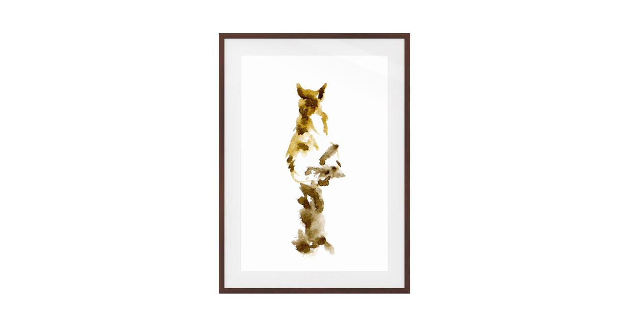 The Mocha Cat Print Dark Brown Wood Frame Small