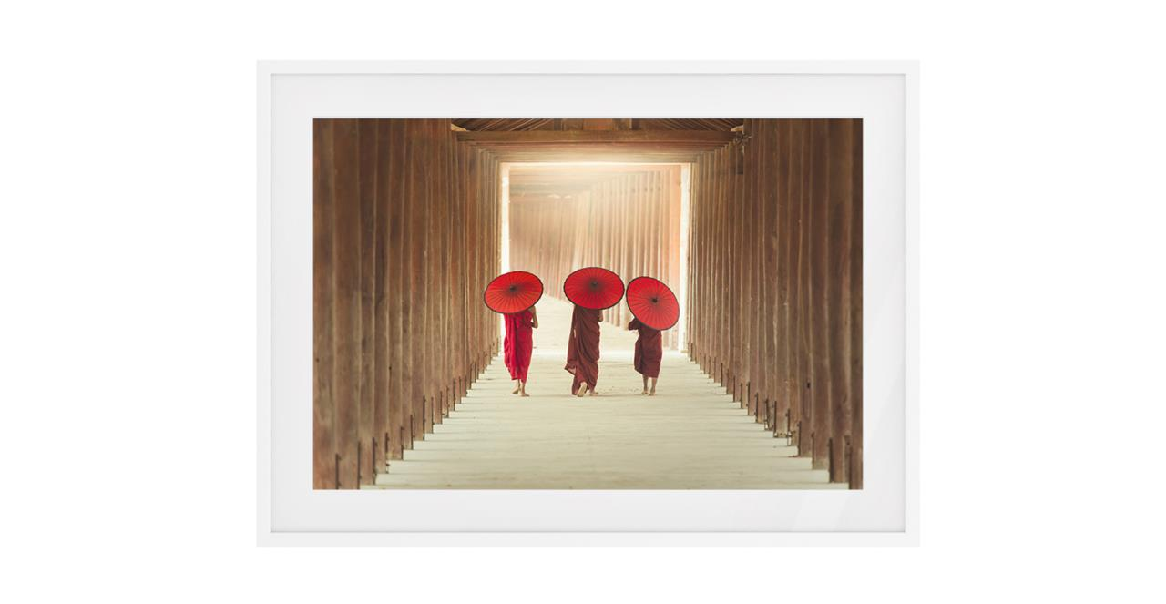 The Monks Print White Wood Frame Small