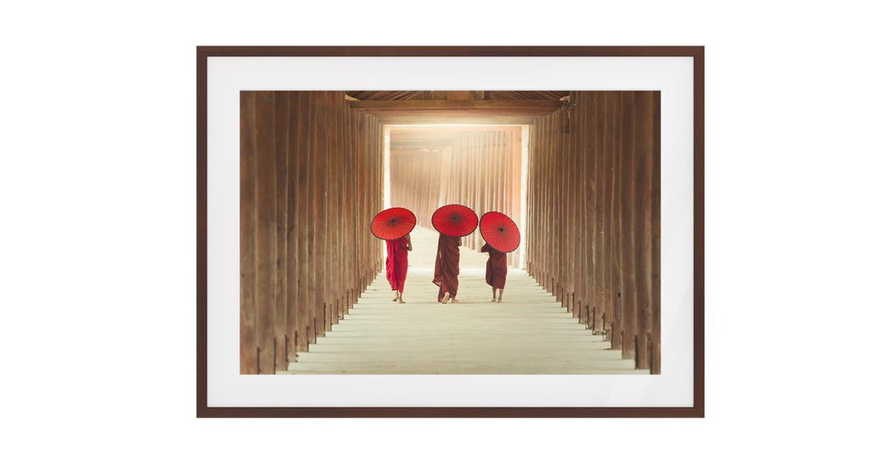 The Monks Print Dark Brown Wood Frame Medium