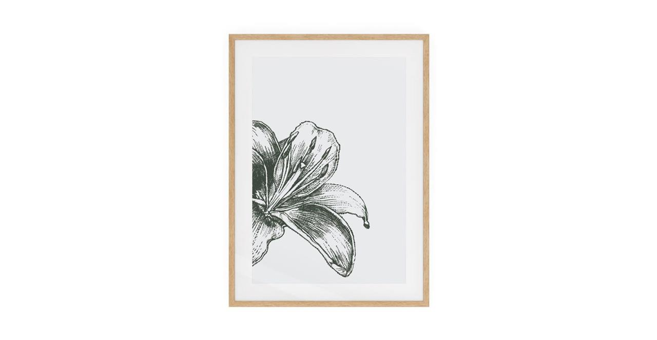 The Monochrome Print Natural Wood Frame Small Lily