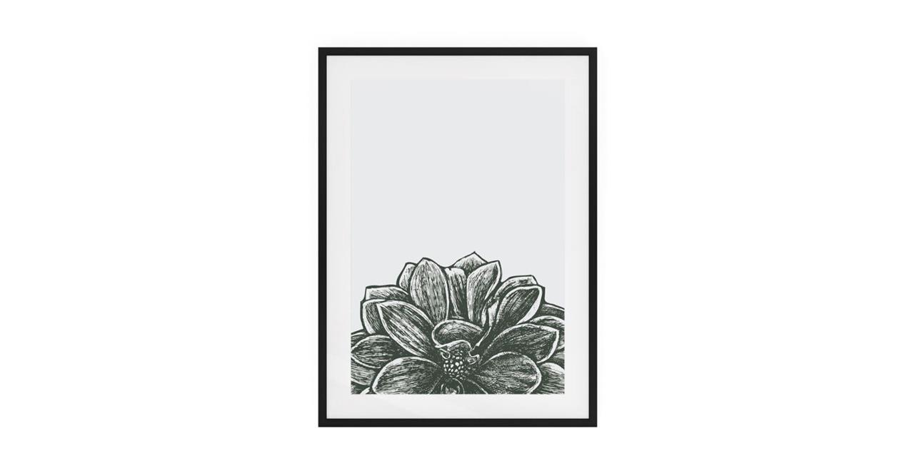 The Monochrome Print Black Wood Frame Small Lotus