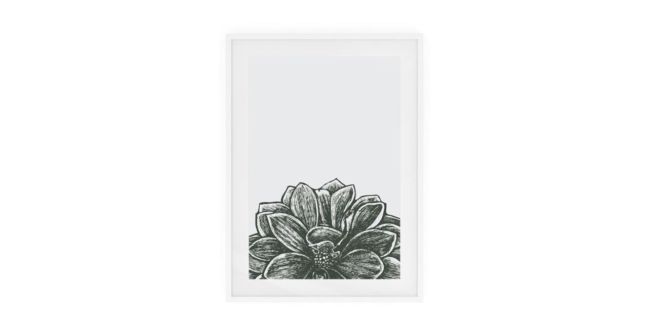 The Monochrome Print White Wood Frame Medium Lotus