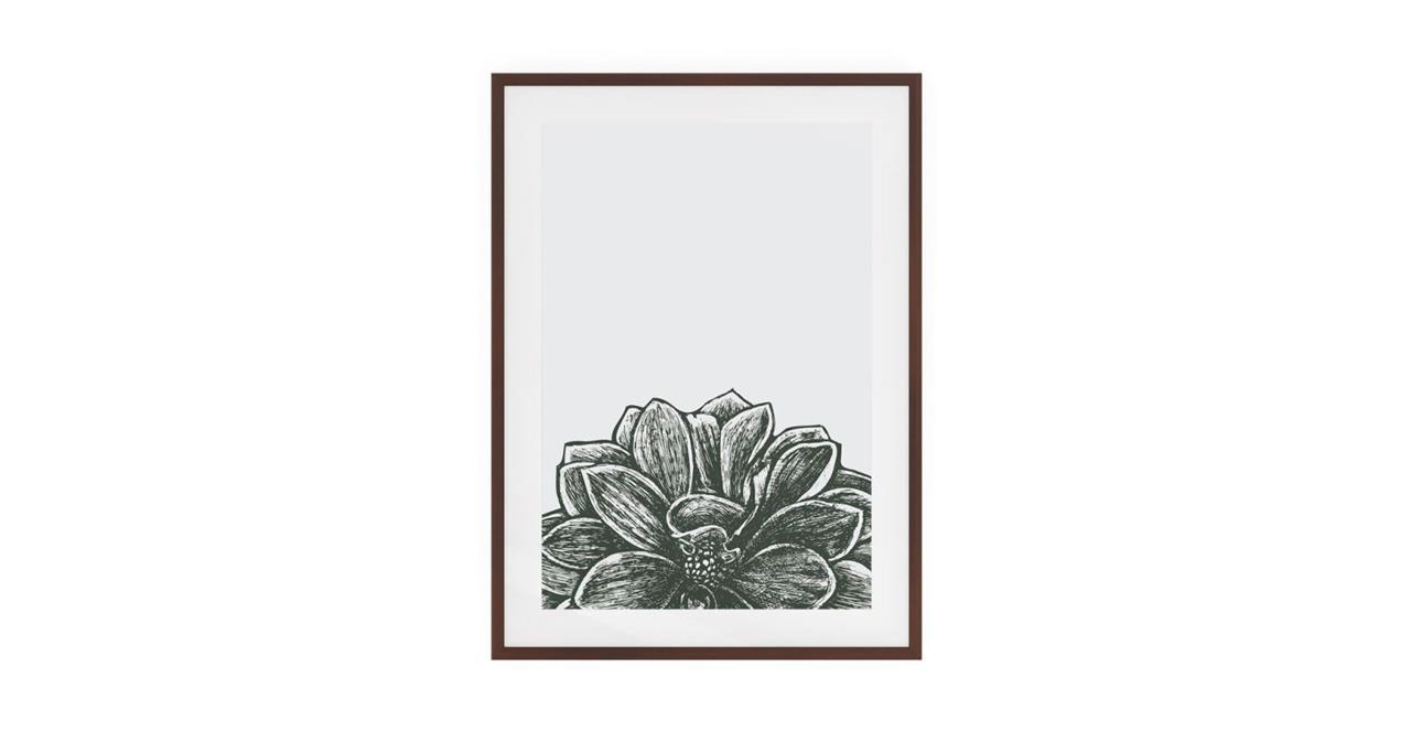The Monochrome Print Dark Brown Wood Frame Medium Lotus
