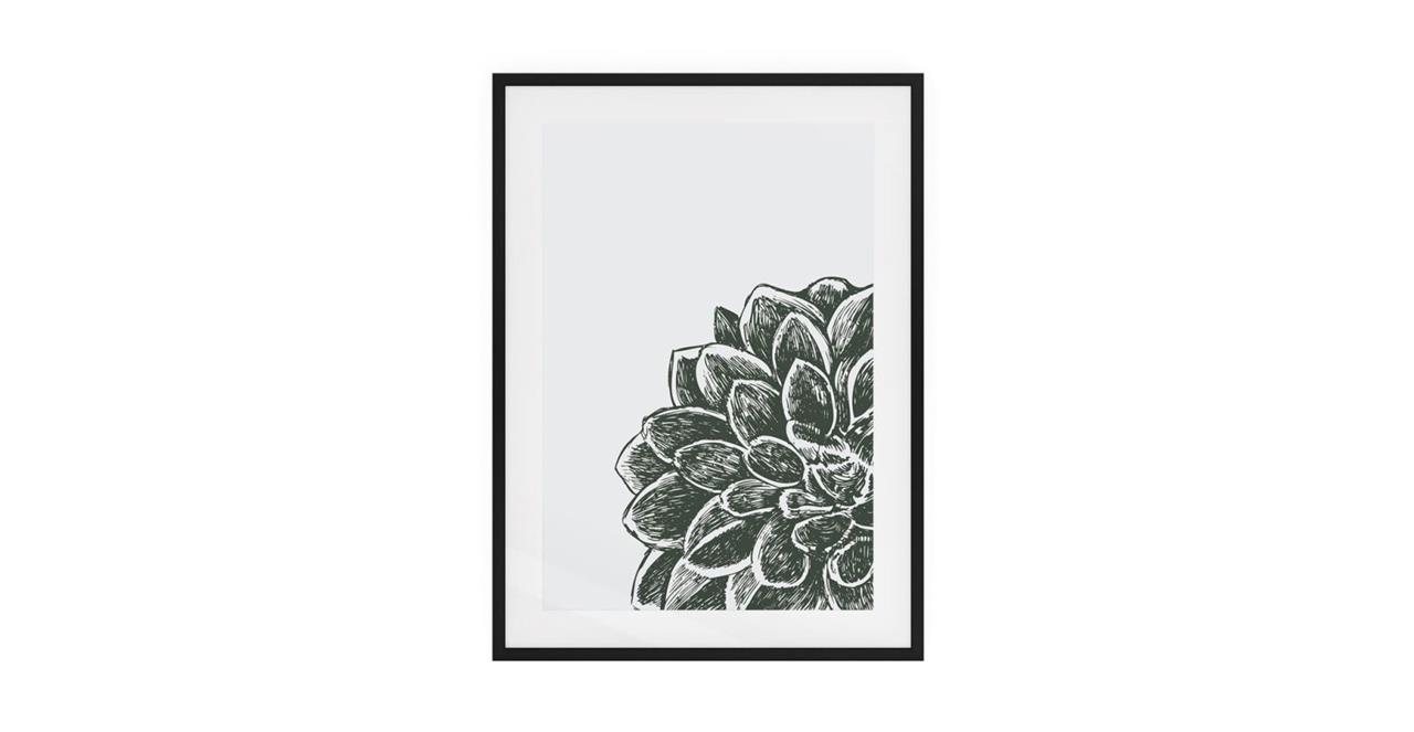 The Monochrome Print Black Wood Frame Medium Peony