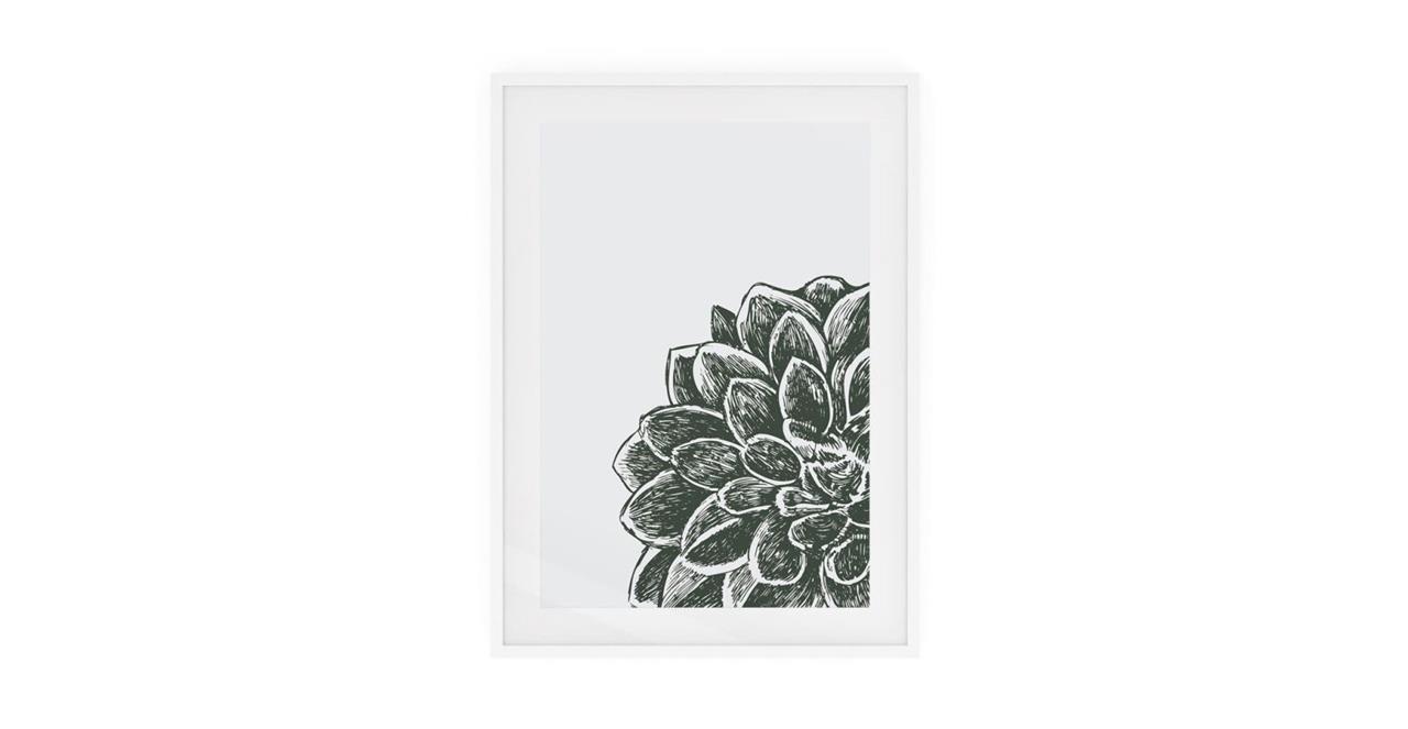 The Monochrome Print White Wood Frame Medium Peony