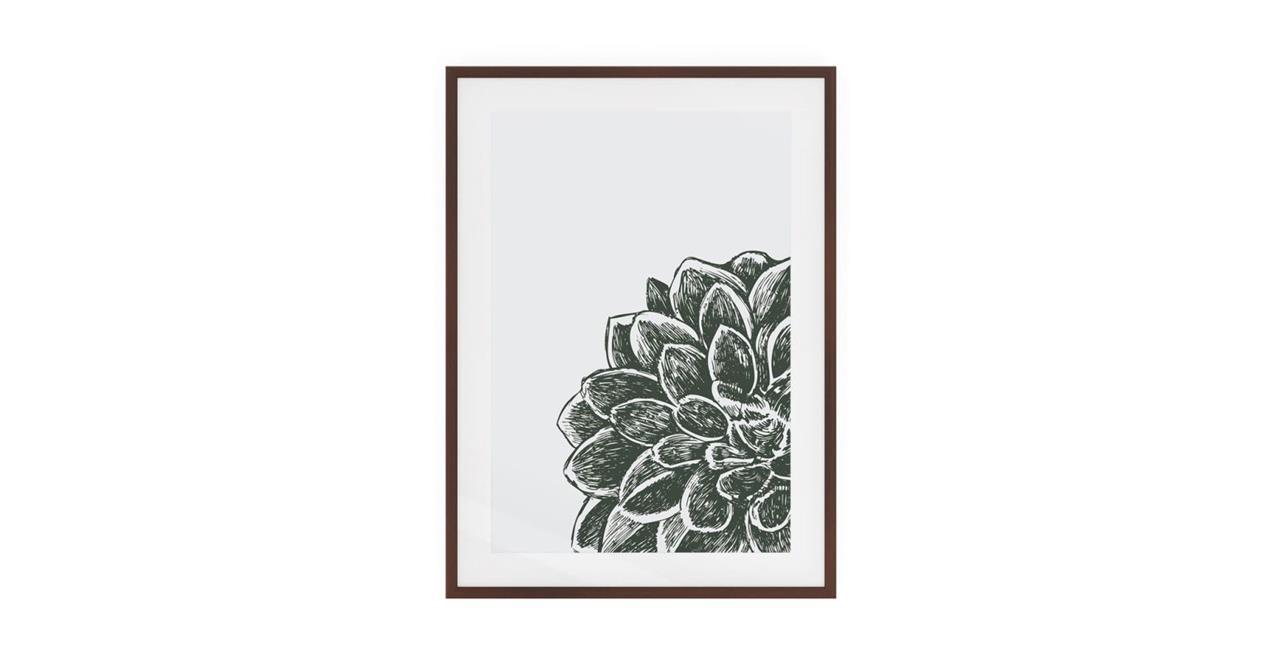 The Monochrome Print Dark Brown Wood Frame Medium Peony
