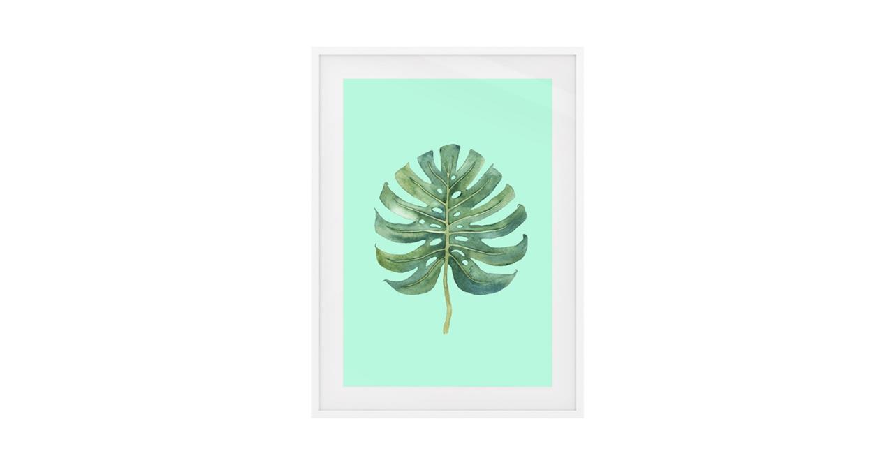 The Monstera Print White Wood Frame Medium Monstera Lime