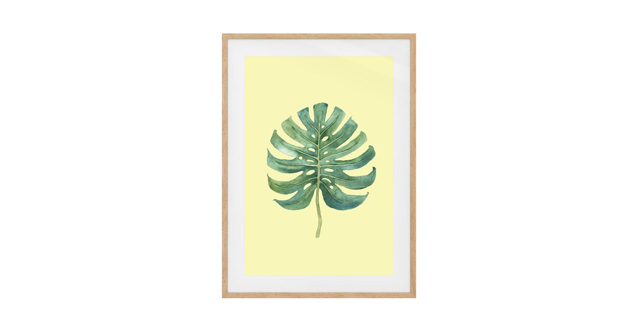The Monstera Print Natural Wood Frame Medium Monstera Lemon