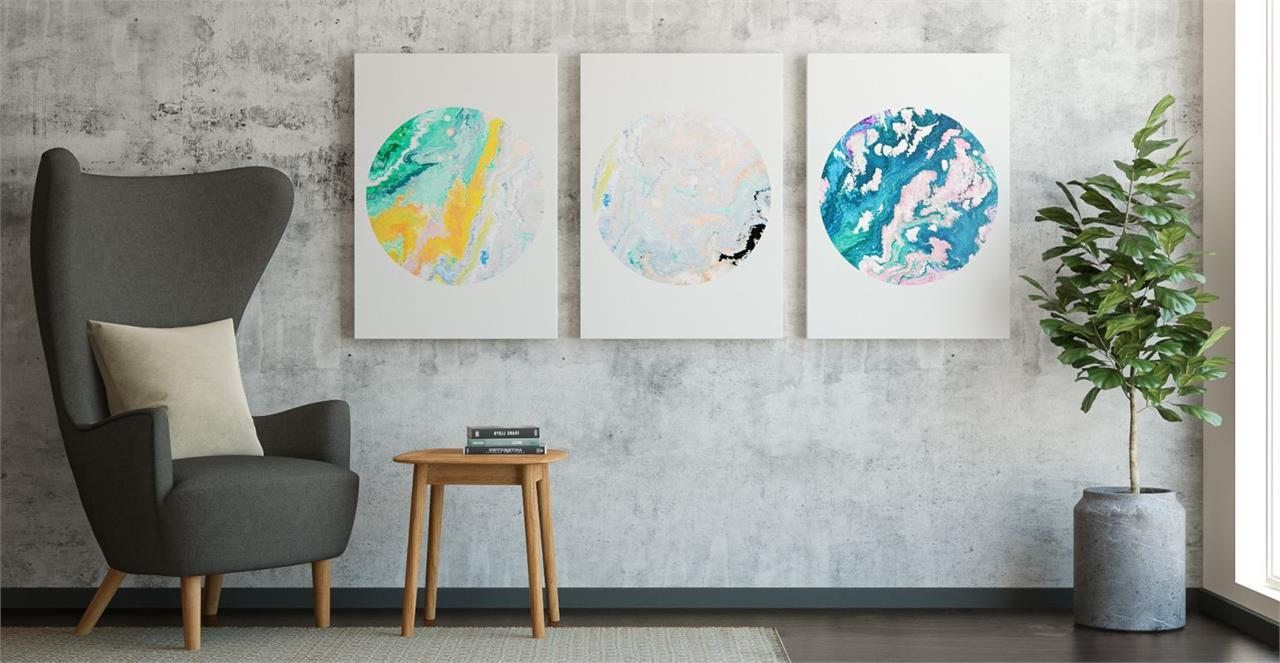 The Marble Triptych Set of 3 Medium