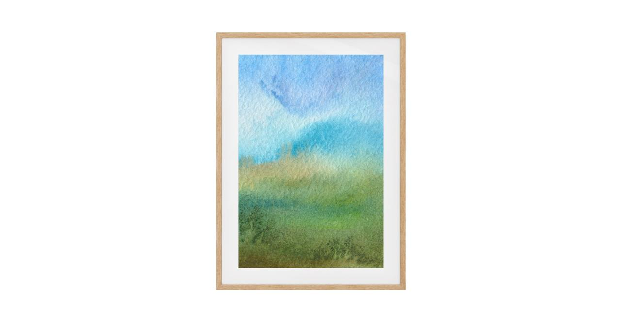 The Watercolour Print Natural Wood Frame Small