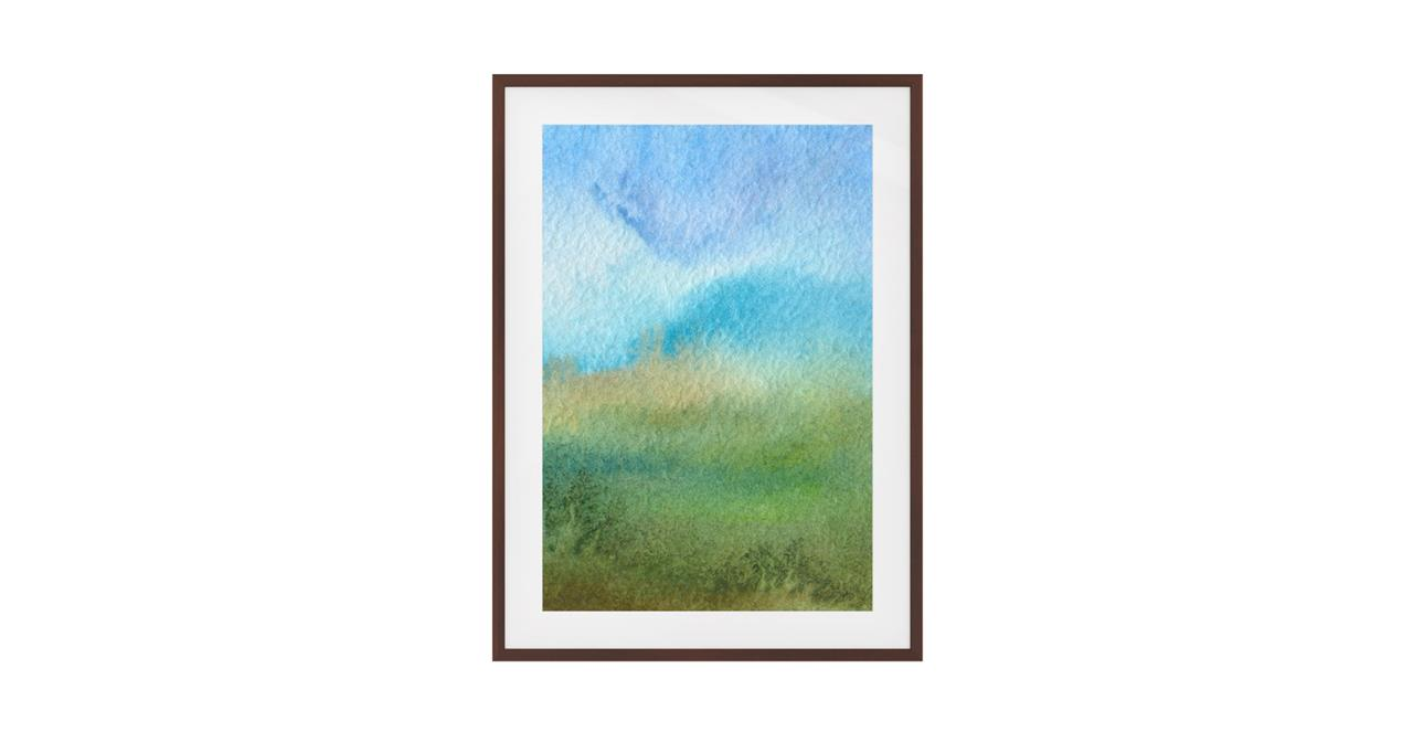 The Watercolour Print Dark Brown Wood Frame Small