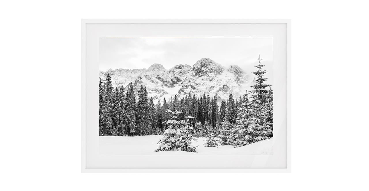 The Winter Print White Wood Frame Small