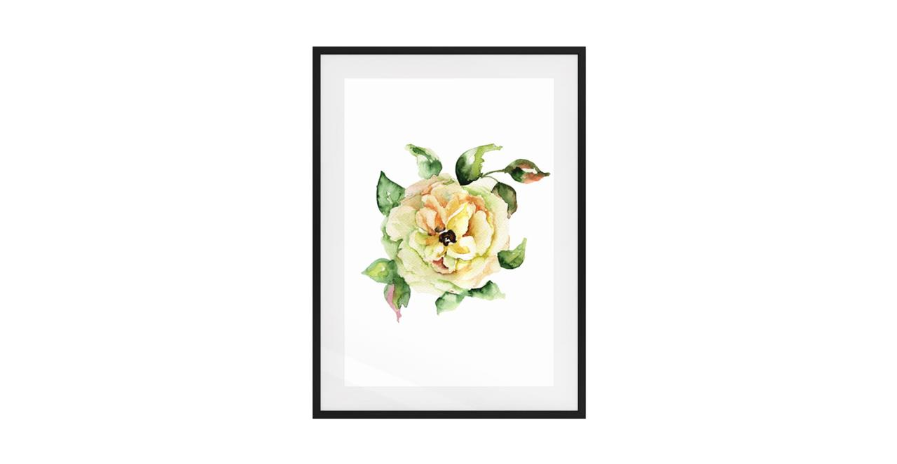 The Yellow Rose Print Black Wood Frame Small