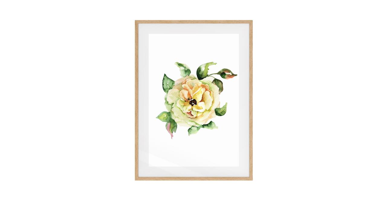The Yellow Rose Print Natural Wood Frame Small