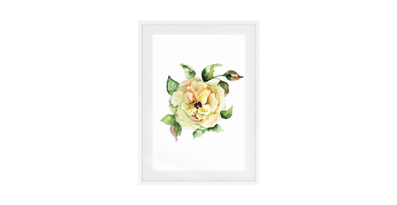 The Yellow Rose Print White Wood Frame Medium