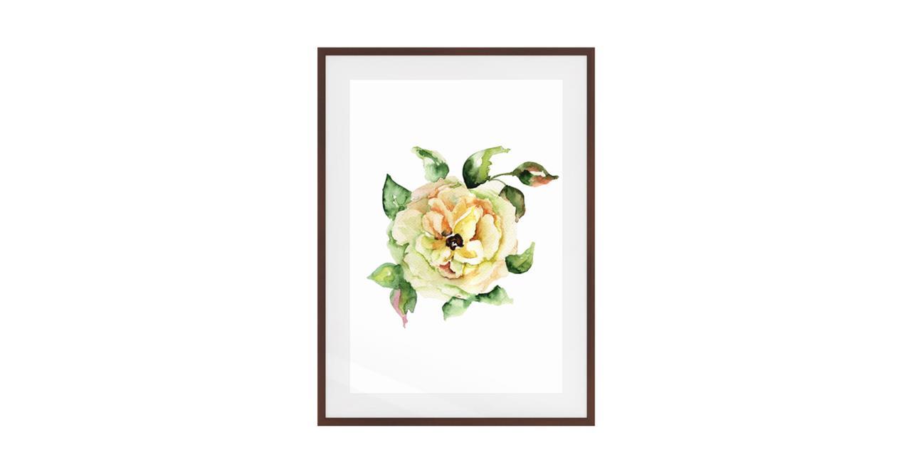 The Yellow Rose Print Dark Brown Wood Frame Medium