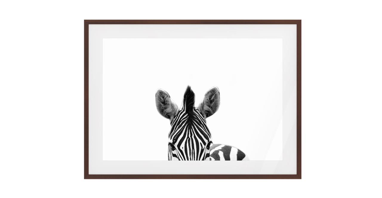 The Zebra Print Dark Brown Wood Frame Small
