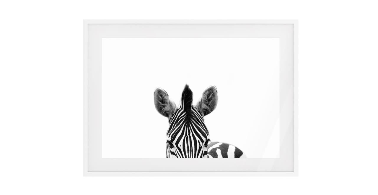 The Zebra Print White Wood Frame Medium