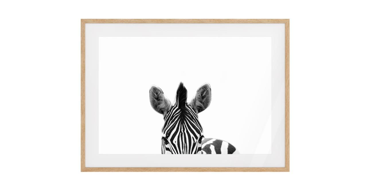 The Zebra Print Natural Wood Frame Medium
