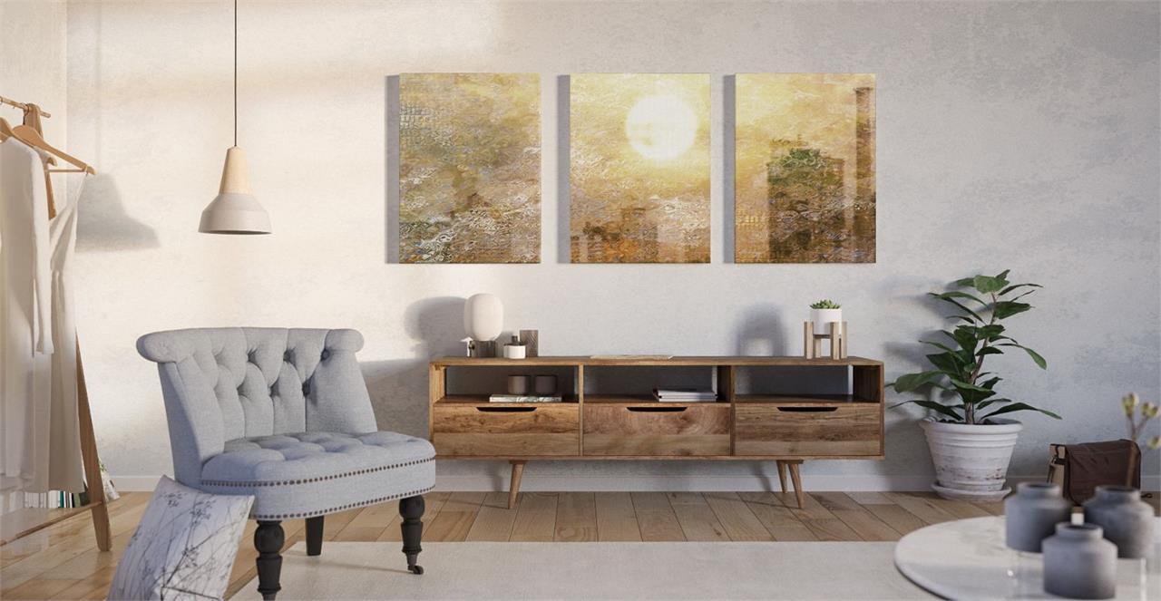 The City Sun Triptych Set of 3 Medium