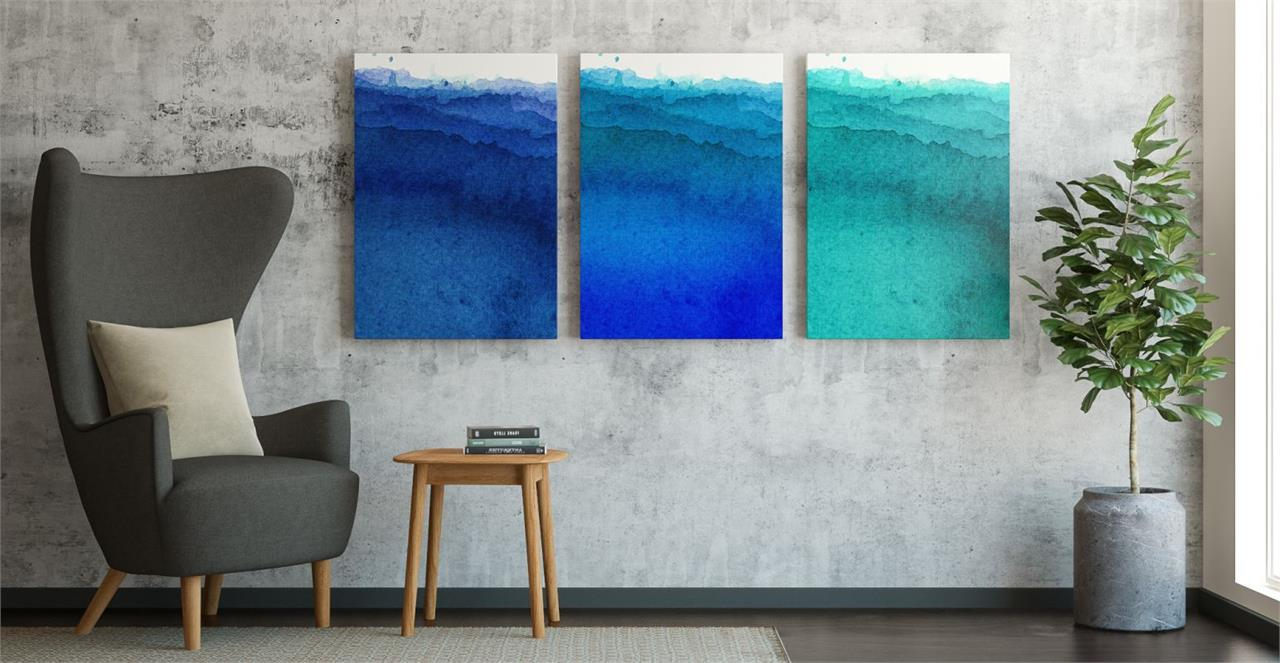The Cyan Triptych Set of 3 Medium