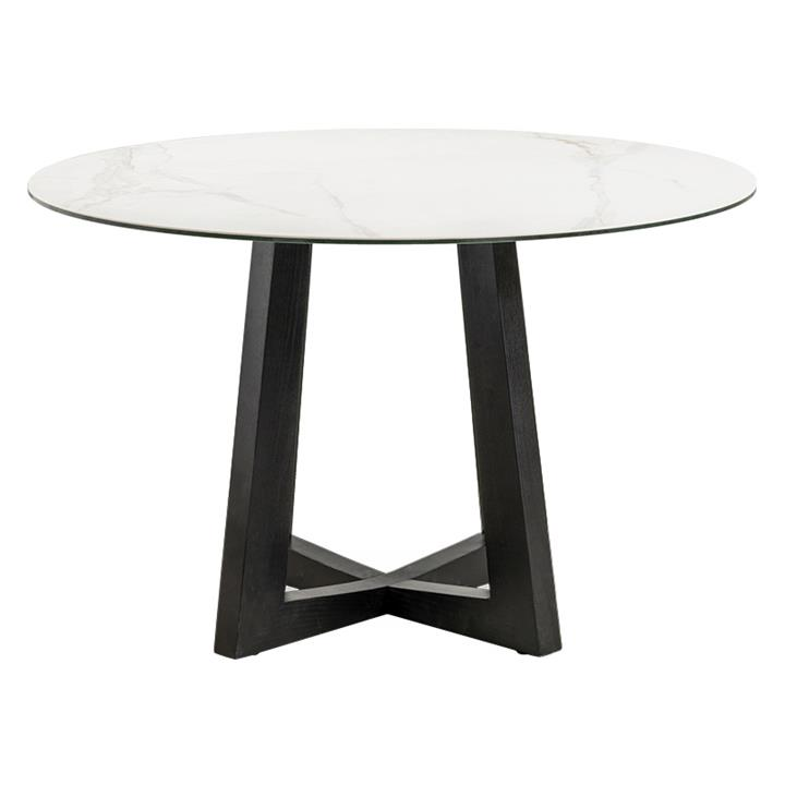 Sloan Commercial Grade Ceramic Top Round Dining Table, 120cm, White / Black