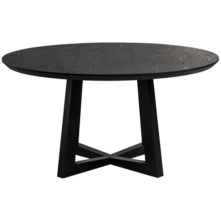 Sloan Commercial Grade Timber Round Dining Table, 150cm, Black
